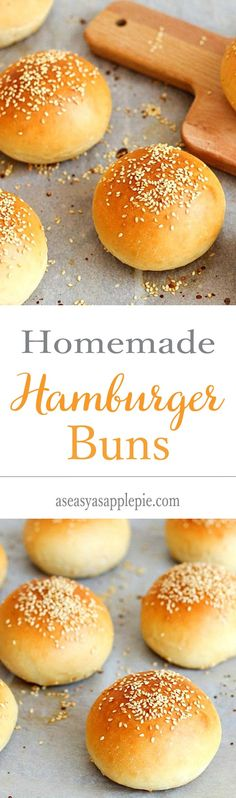 I made these and they are so YUMMY!These homemade hamburger buns are soft yet still sturdy and can hold any burger and toppings. Homemade Hamburger Buns, Homemade Hamburgers, Beignets, Bread Recipes, Cooking Recipes, Bread Bun, Bread And Pastries, Dinner Rolls, Bread Baking
