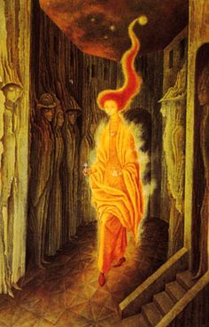 VARO'S FIELD The people in Remedios Varo's paintings are seeking a spiritual dimension, similar to the spirituality the artist herself sought during her life. Varo studied different mystical disciplines metaphysical texts. What is apparently absurd in Varo's paintings are the symbols of a new dimension in which imagination and spirit set free assure that the marvelous is always beautiful...Varo wanted to bring science into closer harmony with magic and myth.