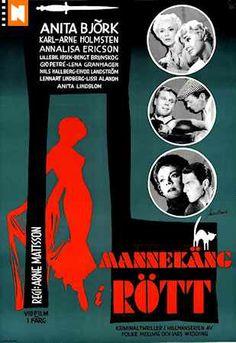 """Mannekäng i Rött. Arne Mattson Sweden 1958. A surprisingly elegant and slow moving humouristic thriller. Excellent. The director most famous for """"Hon dansade en sommar"""". Rerelease poster Sweden 1963."""
