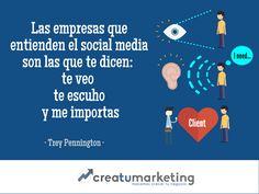 -- Las empresas que entienden el social media son las que te dicen: te veo, te escucho, me importas -    Préstale atención a tu cliente, escúchalo y haz que esté satisfecho.    En creaTUmarketing somos expertos en social media y hacemos que tu marca pueda establecer mejores relaciones con tu cliente en el entorno digital.   Si no sabes ni por donde empezar, ¡cuenta con nosotros!     - creaTUmarketing -    🌀 www.creatumarketing.com | Tel. 937021951   🌀 Con creaTUmarketing invierte menos…
