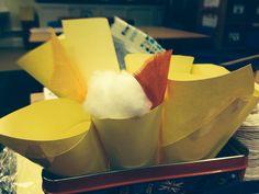 Gruffalo; owl ice cream Paper cones, cotton wool, feathers