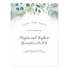 Watercolor Greenery Save the Date Postcard - postcard post card postcards unique diy cyo customize personalize