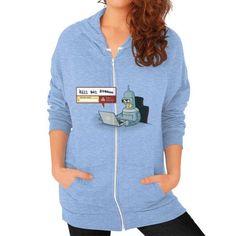 Robot Detector Zip Hoodie (on woman)