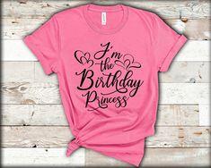 Slogan Tshirt, Family Birthdays, Princess Birthday, Party Shirts, Personalized T Shirts, Gift Store, Birthday Celebration, Cotton Tee, Colorful Shirts