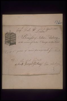 Copper-engraved billhead with handwritten invoice issued by John Aubery, with premises located at the corner of the Exeter Exchange in the Strand. The billhead includes an engraving of a metal framework cage or cabinet indicating that John Aubery was a metalworker or sold metal goods. The invoice dated 1st April 1743 refers to the supply of 'fine overwork' to the Hucks household.