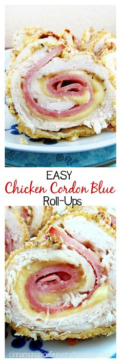 Easy Chicken Cordon Blue Roll-ups - baked with layers of gooey Swiss cheese and salty ham and a crispy breadcrumb coating. Great for your next dinner party. Chicken Cordon Blue Easy, Chicken Cordon Bleu, Baked Chicken, Chicken Recipes, Chicken Meals, Cheesy Chicken, Grilled Chicken, Great Recipes, Favorite Recipes