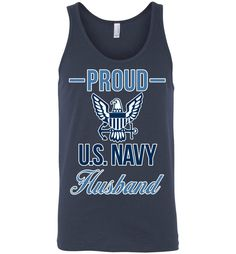 Proud U.S. Navy Husband Canvas Unisex Tank