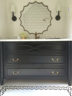 Hex tile pattern, custom vanity | Meredith Heron Design