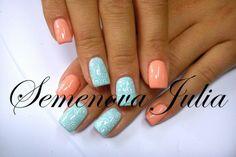 Nägel Bilder Yulia 2014 America Nails - Blau + Rose