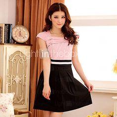 Women's Contrast Color Square Collar Dress(More Colors)