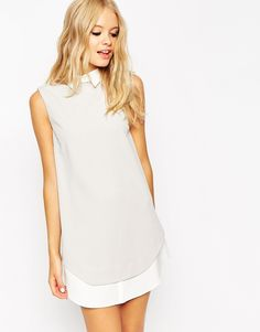 This dress would pair great with a delicate lanyard necklace | Shift Dress with Shirt Detail and Curved Hem