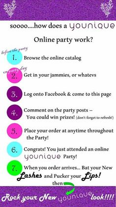 """How does a """"Younique"""" Virtual Party Work?  It's very easy.  Follow these steps and enjoy the party.  Book your party today!  https://www.youniqueproducts.com/jenclark"""