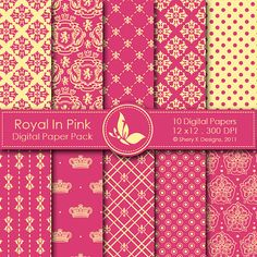 Royal In Pink Paper Pack  10 Digital papers  12 by SheryKDesigns, $2.50