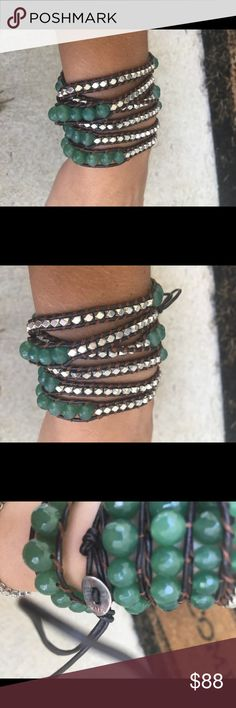 NWOT silver & green jade leather Chan Luu bracelet Sterling silver and green Jade beads with brown leather cording. Gorgeous wrap bracelet! Chan Luu 925 clasp.  No bag, no tags. Adjustable closure can fit any wrist size! Normally wraps 5 times depending on wrist size. Open to offers! Chan Luu Jewelry Bracelets