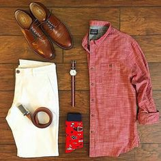 Stylish Summer Grid by @chrismehan   Follow  @stylishgridgame    Brands ⤵ Shirt + Trousers: @jachsny Shoes: @ghbass Socks: @divvyup Watch: @avi_8 Belt @missionbeltco