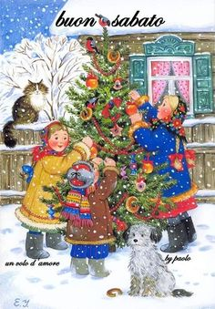 Russian Orthodox Christmas and New Year holidays in nice pictures by the artist Elena Uvarova from Moscow Christmas Scenes, Christmas Past, Very Merry Christmas, Country Christmas, Christmas Pictures, All Things Christmas, Christmas Ornaments, Illustration Noel, Christmas Illustration