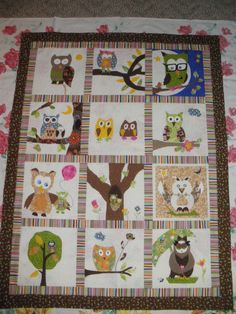 For a niece's baby.  7 guys, cousins and uncles, and 5 aunts and cousins, each designed and appliqued an owl design for this quilt.  Needless to say, the men couldn't believe how well each blocked turned out!  especially there own!!!