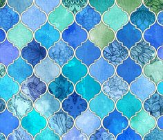 Cobalt Blue and Aqua Decorative Moroccan Tiles fabric by micklyn on Spoonflower - custom fabric