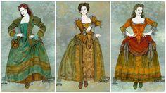 Costume Designer Gregg Barnes | Something Rotten! - Costume renderings for Prolouge Women - Costume ...