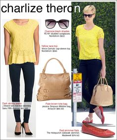 charlize theron style. easy casual look.