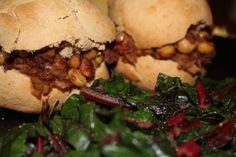 Barbecued Garbanzo Sliders #vegan NOTES fantastic easy dinner, kids loved it