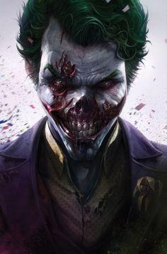 Zombie Joker by Francesco Mattina - DC Comics Comic Book Artwork Joker Batman, Joker And Harley Quinn, Batman And Superman, Batman Dark, Spiderman, Art Du Joker, Der Joker, Joker Images, Joker Pics