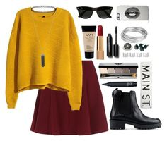 """""""Untitled #26"""" by hautecouturechic ❤ liked on Polyvore featuring H&M, Lipsy, Ray-Ban, Karen Kane, RED Valentino, Bobbi Brown Cosmetics, Maison Margiela, FOSSIL, Chanel and NYX"""