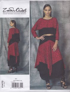 Vogue Designer Original Zandra Rhodes Pattern V1470 Very Loose Fitting Pullover Crop Top & Skirt with Shaped Hemlines Misses' Sizes 8 - 18
