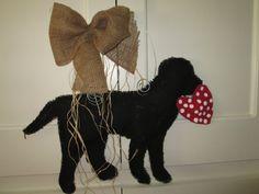 Burlap Door Hanger Black Lab with Heart by nursejeanneg on Etsy, $28.00