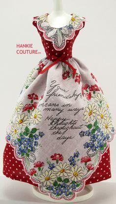 Vintage Handkerchiefs | Sew vintage hankies / Red dot apron dress by Hankie Couture!