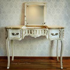 Vintage French Provincial Vanity. Painted in Annie Sloan Old Ochre and Old White Chalk Paint. Antiqued with Annie Sloan French Linen. Accented with gold gilding and highlighted with dark wax. Photo by Von Mcknelly