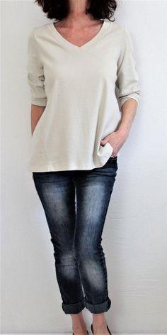 J Jill Pima Cotton 3/4 Sleeve Vneck Perfect Pima Forward Seam Top Beige Sz M #JJill #Tunic