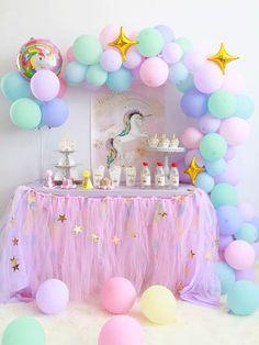 Pastel Rainbow Unicorn Balloons with GOL on Mercari Rainbow Unicorn Party, Unicorn Themed Birthday Party, Birthday Party Themes, Unicorn Balloon, Unicorn Decorations Party, Surprise Birthday, 5th Birthday, Rainbow Party Decorations, Birthday Balloon Decorations
