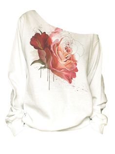Items similar to Vintage red rose print off shoulder slouchy oversized raw edge on Etsy T Shirt Painting, Fabric Painting, White Off Shoulder Top, Shoulder Tops, Fabric Paint Designs, Paint Shirts, Painted Clothes, Got The Look, Baby Girl Dresses