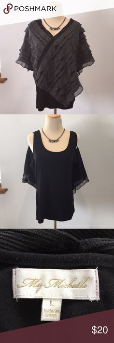 Black 2 piece asymmetrical top Black tank top attached to a black and gray asymmetrical poncho-style top with ruffle detail My Michelle Tops Tunics