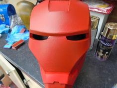 Build an Iron Man Helmet for Cheap!: 10 Steps (with Pictures) Spray Paint Cans, Acrylic Spray Paint, Gold Spray Paint, Red Paint, Iron Man Helmet, Ironman, Red Pictures, Painters Tape, Waterfalls