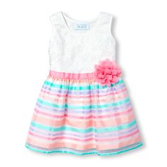 Toddler Girls Sleeveless Lace And Organza Striped Dress