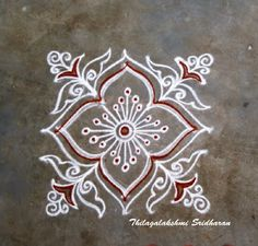 Rangoli and Art Works: FREEHAND KOLAM Rangoli Borders, Rangoli Patterns, Rangoli Kolam Designs, Rangoli Designs Images, Rangoli Designs With Dots, Kolam Rangoli, Flower Rangoli, Beautiful Rangoli Designs, Mehandi Designs