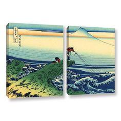 ArtWall Kajikazawa in Kai Province by Katsushika Hokusai 2 Piece Painting Print on Wrapped Canvas Set Size:
