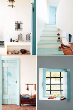 Lovely blues. so simple love the stones on staircase.