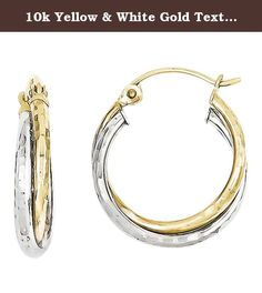 10k Yellow & White Gold Textured Twist Hoop Earrings, Best Quality Free Gift Box. This adds a sense of charm to your favorite collection.10K Yellow & White Gold Textured Twist Hoop Earrings. Model No.: 10TC365. 10k Two-tone. Product Type: Jewelry. Jewelry Type: Earrings. Material: Primary: Gold. Material: Primary - Color: Two-Tone. Material: Primary - Purity: 10K. Length: 19 mm. Width: 16 mm. Thickness: 4 mm. Got questions about this item? If you wish to know any additional info or have…