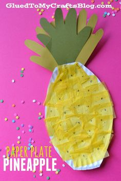 Simple summer craft: paper plate pineapple kids craft made with a paper plate, tissue paper, construction paper and glue! From Glued to My Crafts!