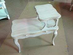 Vintage End Table finished in Annie Sloan Chalk Paint, Old White and Old Ochre with Dark Wax