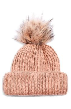 2e25dc17b7f Free shipping and returns on Topshop Faux Fur Pompom Beanie at  Nordstrom.com. A