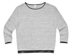 de-33, szara gładka bluza z wykończeniem z czarnej skóry