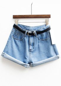 Cuffed Denim Shorts With Belt 14.55€