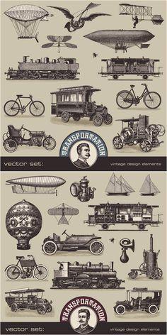 vintage-transport-illustrations-vector.jpg (800×1600)