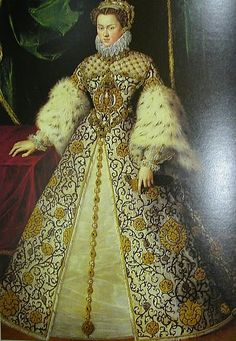 French Court Garb, later 16th century - seems to be related to this image identified as Elisabeth of Austria c.1570 http://commons.wikimedia.org/wiki/File:Elisabeth_of_Austria_Queen_of_France_van_Straeten_1570.jpg not sure if the digital image has been cropped or there's 2 copies of this portrait one full length one half length