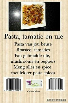 28 Dae Dieet | Pasta met Smoor Clean Eating Recipes, Diet Recipes, Healthy Eating, Cooking Recipes, Healthy Recipes, Healthy Meals, Recipies, 28 Dae Dieet, Dieet Plan