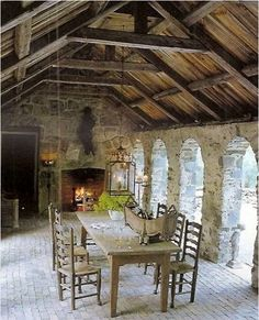 There's a unique mixture of textures in this dining space.